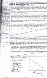 Official Marriage Cert with the Annulment in the left column. Bottom part has signatures to the wedding.