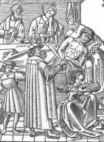 Pestlijder, afbeelding uit de oudste medische encyclopedie van Nederland (1512)